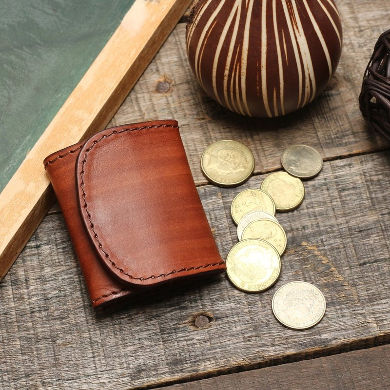 Minimal wood grain brushed vegetable-tanned cowhide leather coin purse