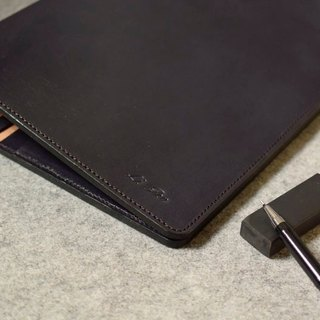 YOURS B5-SIZE buttonless loose-leaf notebook + L sandwich gray blue leather