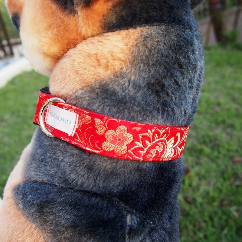 Embroidered gold flower dog collar