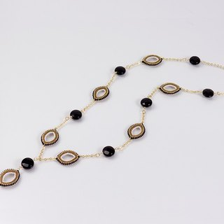 Black y necklace, onyx stone, marquise jewelry, 389