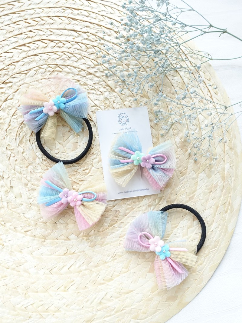 Children's Hair Accessories - Gradient Colorful Mesh Flower Bow Hairpin Hair Tie Hair Accessories