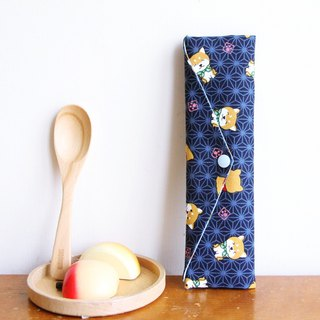 Wen Qing style green chopsticks bag ~ Chaichai Scouts wild blue storage bag. Green chopsticks gift bag