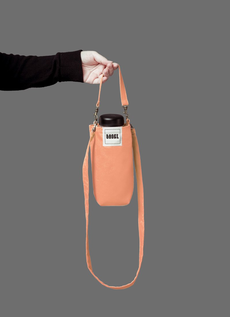 Universal environmentally friendly beverage bag detachable long strap with slanted shoulder carrying desert orange powder