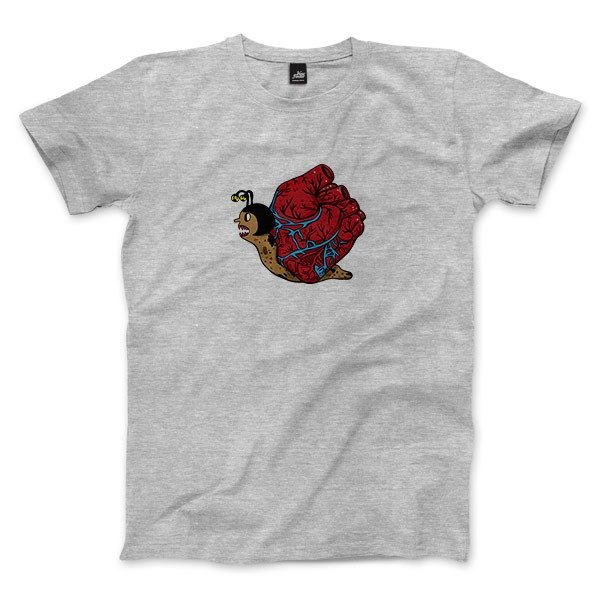 Heart Snail-Dark Hemp Grey-Neutral T-shirt