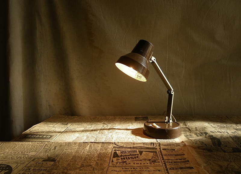 [Old Time OLD-TIME] Early Taiwanese Joint Folding Table Lamp