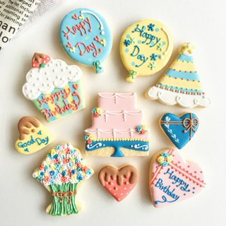 Sugar Cookies • Flower Birthday Party Creative Design Cookies 10 Pieces
