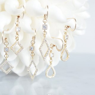 【14 KGF】 Earrings, Tiny Double CZ (Rhombus / Square / Teardrop)