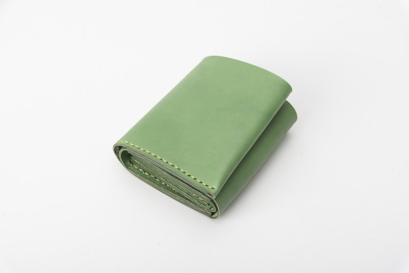 Containment Handmade Leather Storage Zipper Short Clip Multifunctional Wallet Mint Green