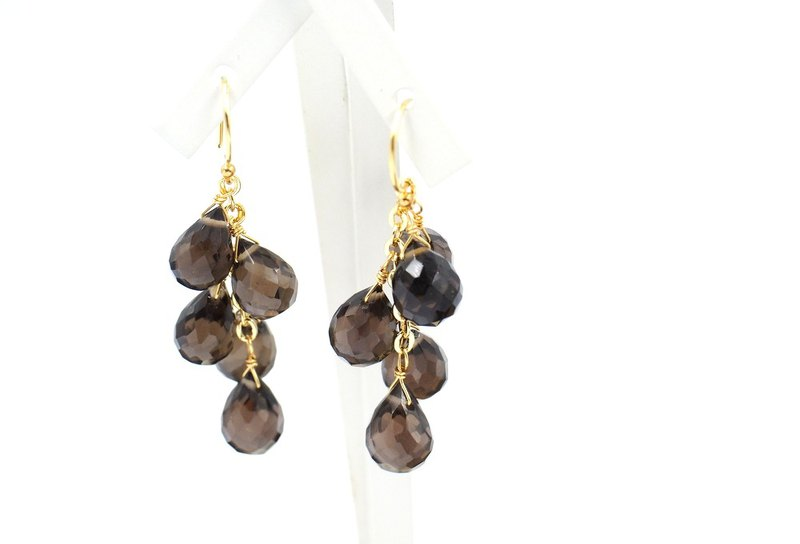 Quartz Smoky chandelier earrings