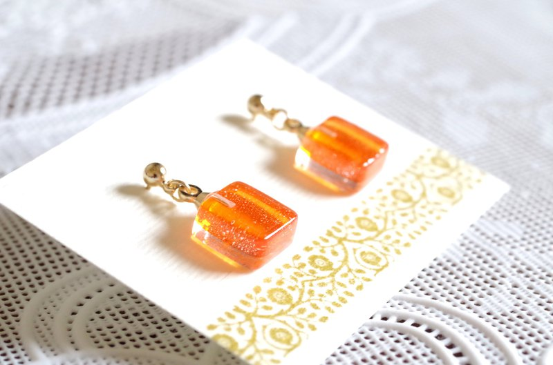 Glass Square Earrings-Mandarin