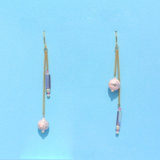 Pink marble beads / iridescent purple tube beads / small pearl chain long earrings