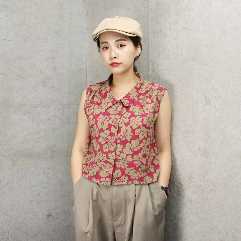 Tsubasa.Y Ancient House 006 Tropical Red Peach Chiffon Top