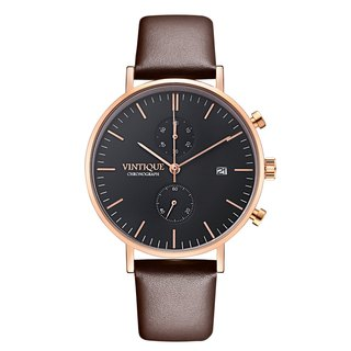 [Vintique] chronograph watch simple design sapphire glass rose gold stainless steel case leather strap CH-BR02