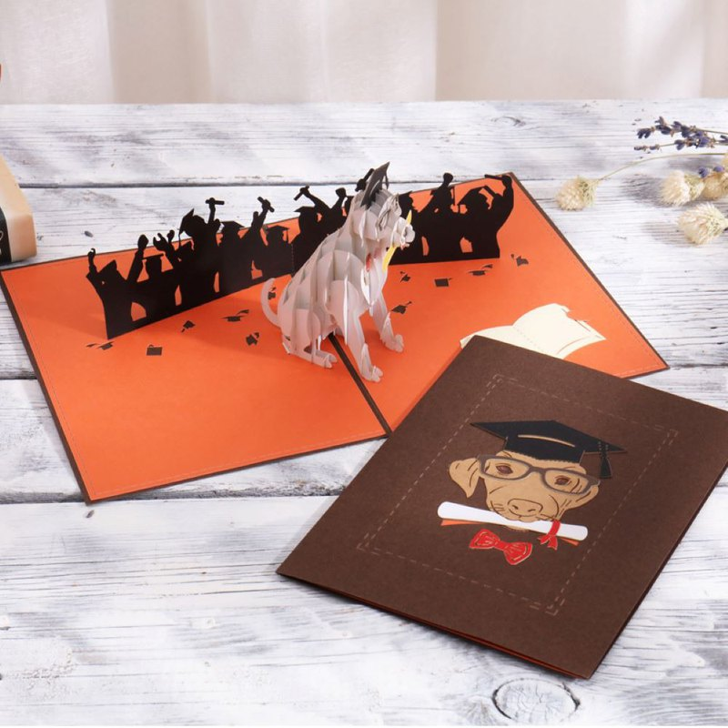 Hand made 360 degree full three-dimensional card _ graduation puppy to give gifts _ graduation to celebrate universal use