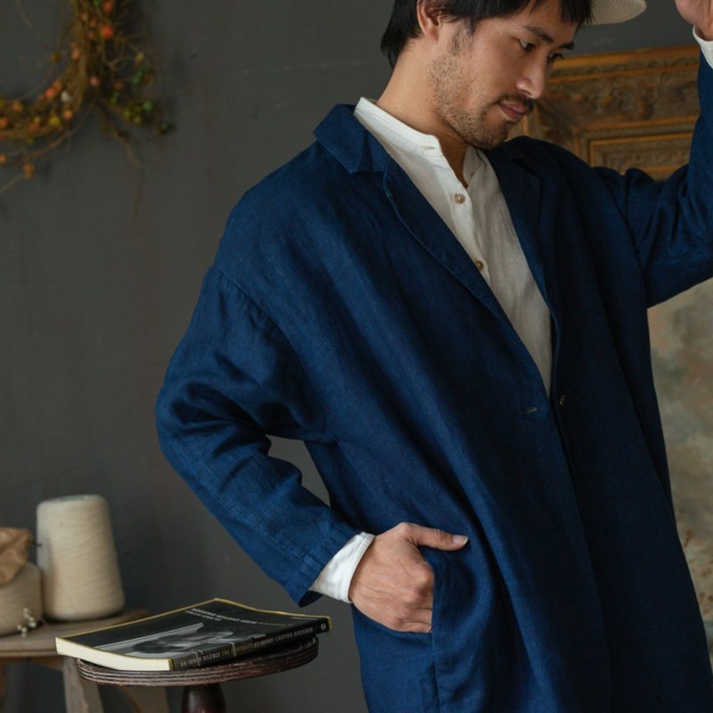 The end of the indigo time 3 colors falling shoulders spring and summer windbreaker plant dyed natural blue dyed neutral linen jacket