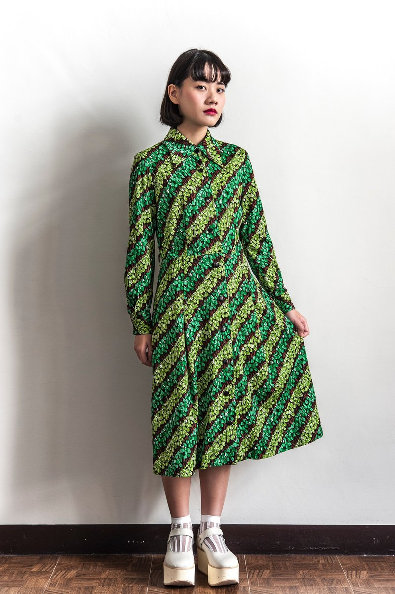 Vintage green buds long sleeve ancient elastic dress