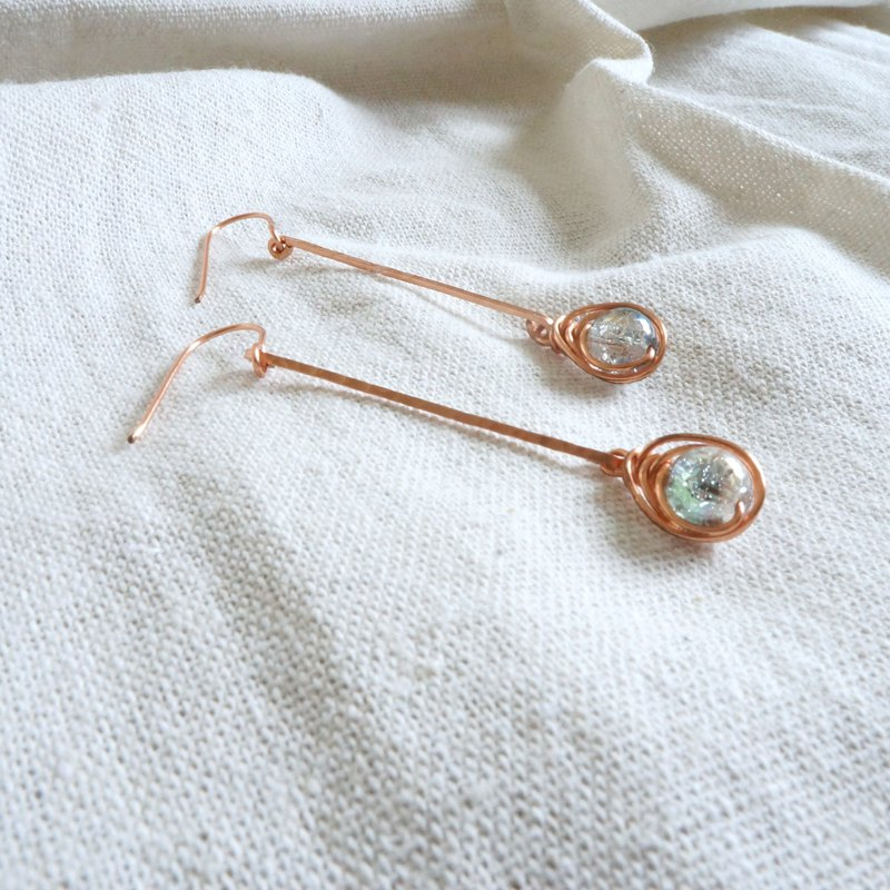 Handmade copper earrings - simple glass pearl ice crystal