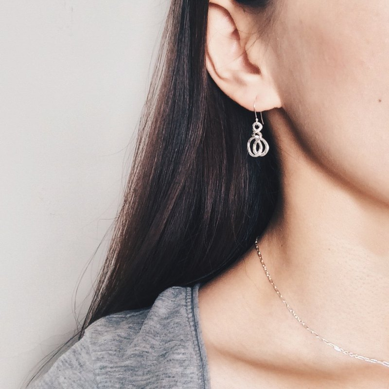 A knot on the line between the ears - Silver Dangle Earrings