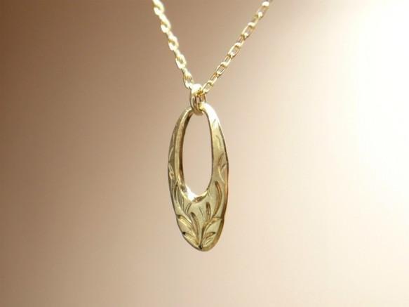 女士K18黃金金手工項鍊橢圓形