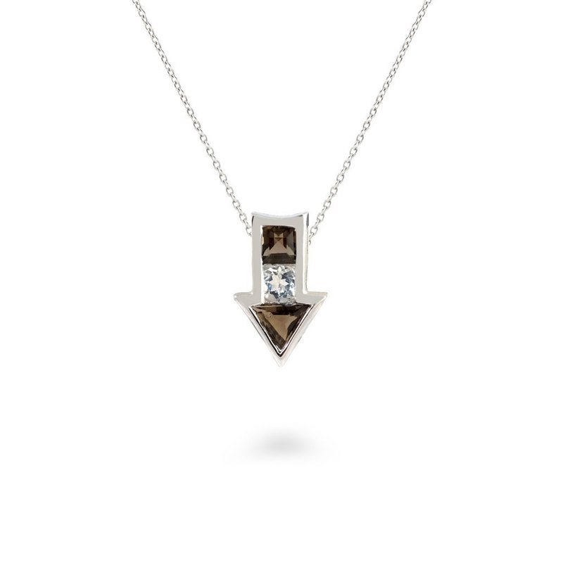 Urban Arrow Pendant with Smoky Quartz and White Topaz