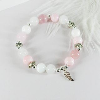 Pink Angel Silver Natural Stone Silver Bracelet │ Bead Pink White º unicorn natural stone 925 sterling silver Tibetan silver powder