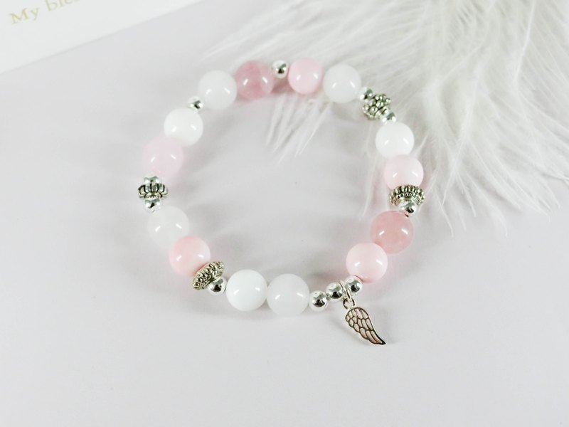 Pink Angel Silver Natural Stone Silver Bracelet │ Beaded Powder White System 玥unicorn Tibetan Silver Powder Crystal
