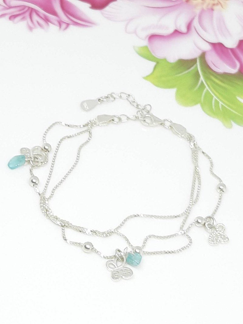Sterling Silver Multi Level Bracelet + Aquamarine - Bracelet - Mother's Day - Birthday - Valentine's Day