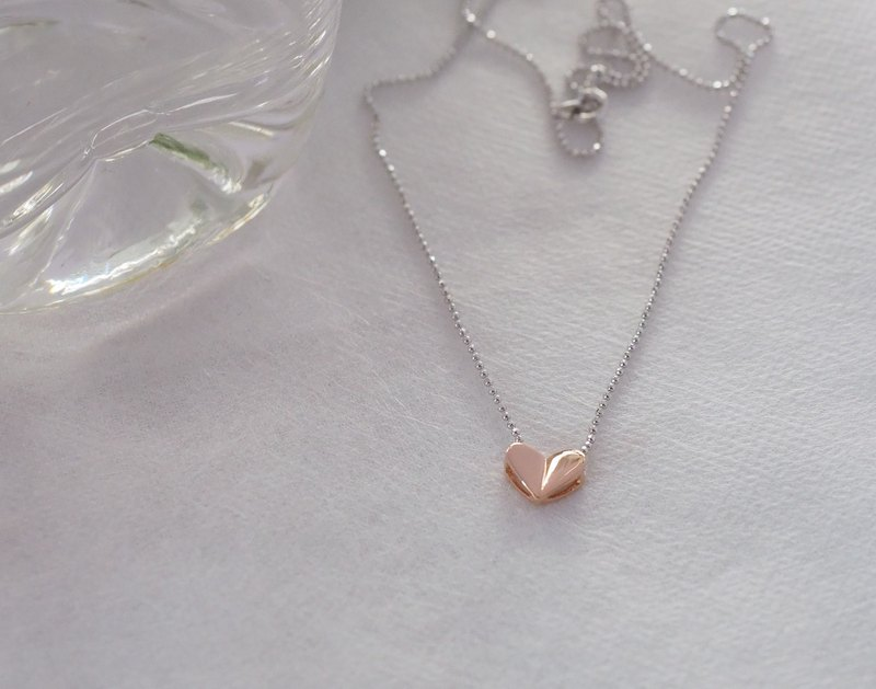 Tiny Heart Pendant Minimalist Necklace in Pink Gold