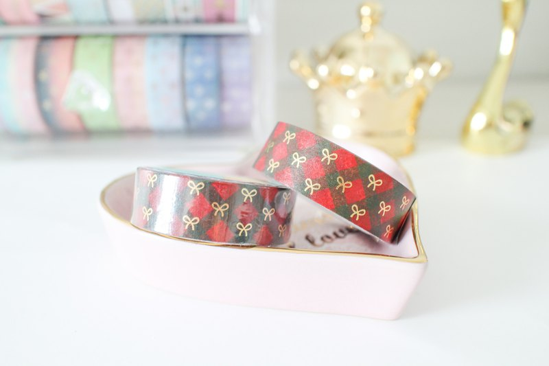 Gold foil tape - Christmas red and green twill plaid small bow