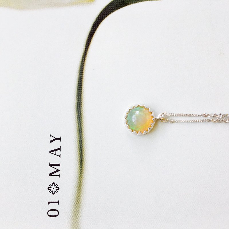 925 sterling silver honey mint taste [two-color opal necklace]