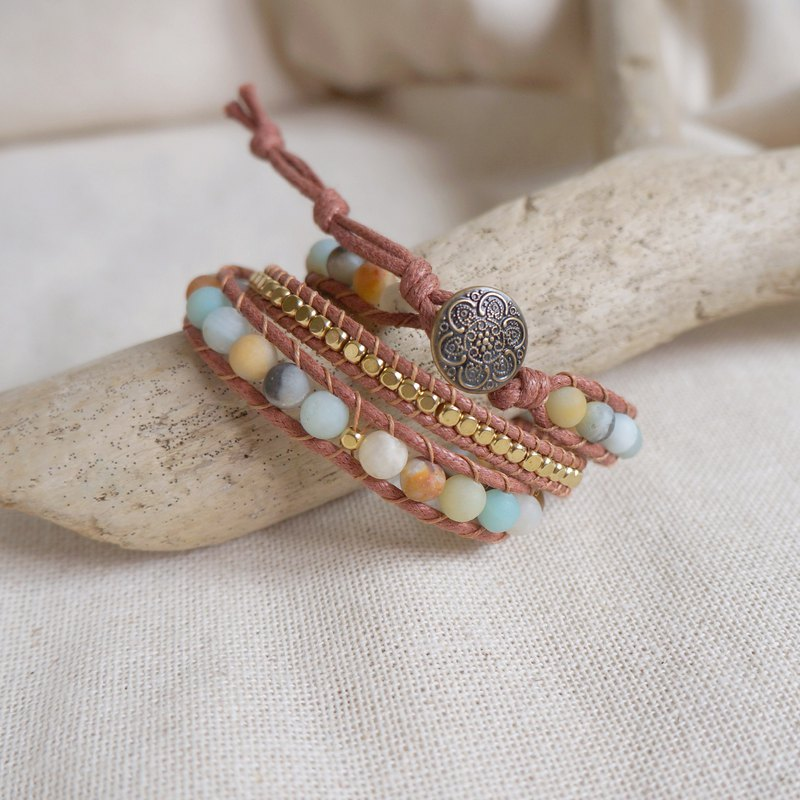 Natural stone woven bracelet pink / Amazon stone