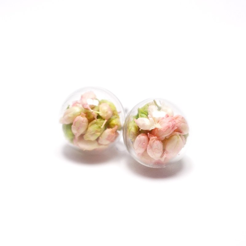 A Handmade pale pink millet flower glass ball earrings