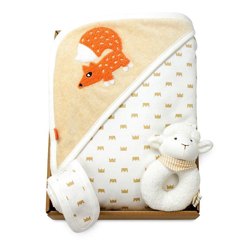 【hipopipo小西波禮盒】皇冠小狐雙面厚包毯+圈圈羊