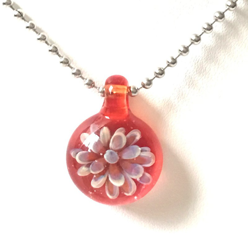 Red Fireworks Glass Necklace - Glass Water Flower Series