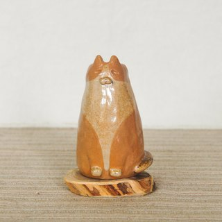 Chai pottery hand made cute little orange cat flower ornaments doll