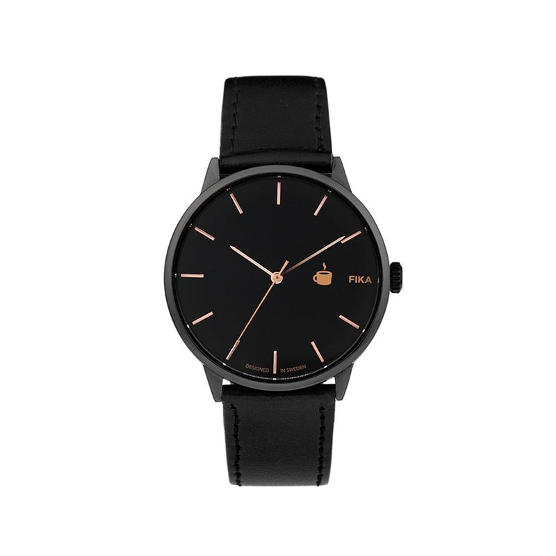Khorshid Collection - Fika Black Dial Black Leather Watch