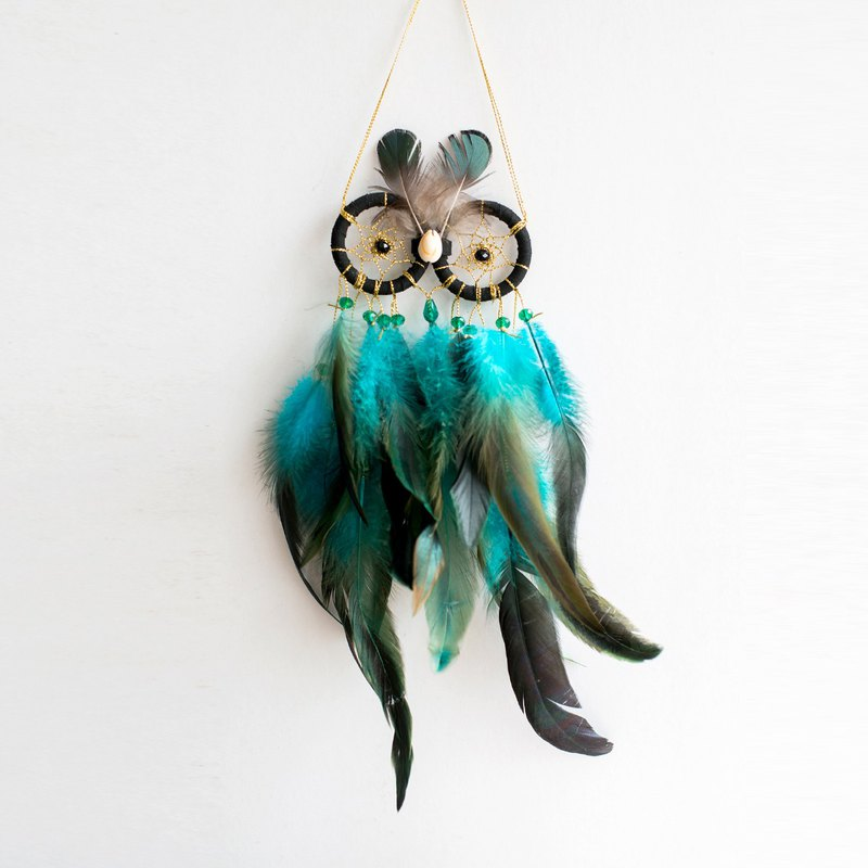 Low-key black gold - Owl style dream catcher - housewarming gifts, home furnishings