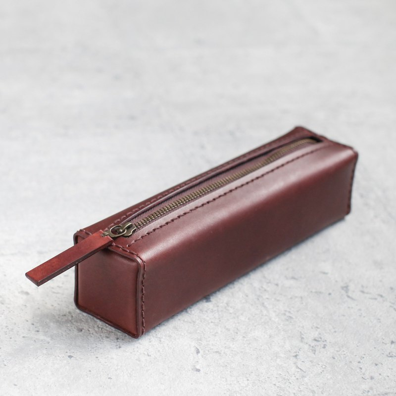 Dark brown classy square veg-tanned leather pencil case/pen pouch