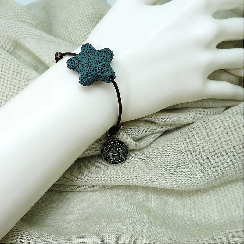 Taurus Gemini Cancer Leo Zodiac Star Aroma Rock Leather Bracelet Adjustable