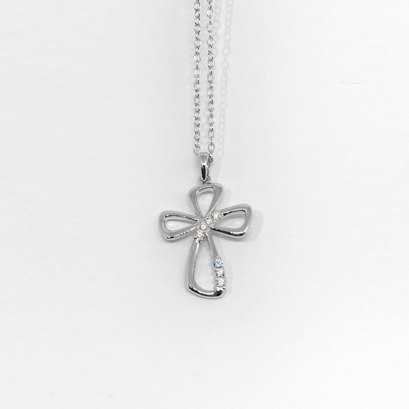 JE-N016 [Zircon·925 Sterling Silver] True Love Cross Delicate Zircon Handmade Necklace