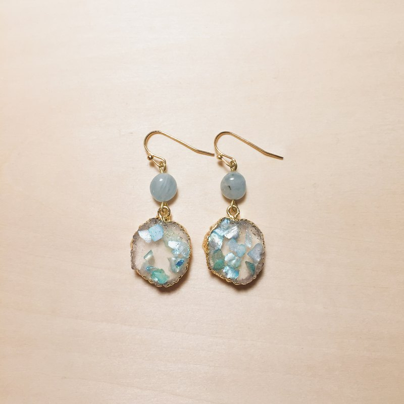 Vintage Aquamarine Blue Broken Shell Imitation Ore Earrings