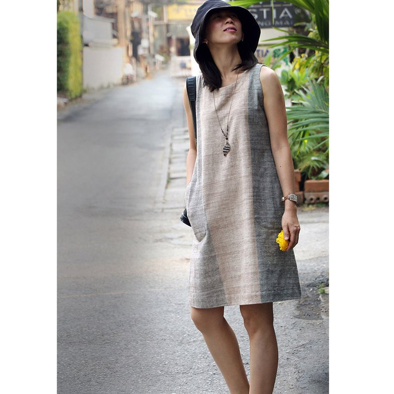 Cotton Hand Spun Dress, Cotton Natural Dyed / Brown (Padauk)