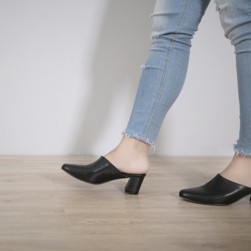 WL Mules High-heeled Muller (detailed black) Black High Heels