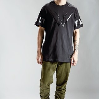 HWPD│ short in front long split Edition T-Shirt bright black (refer to Kanye West / Yeezy / Justin Bieber)