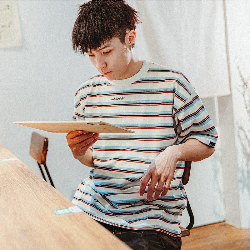 ourSalutelab COLOURFUL STRIPES T-SHIRT/細條紋寬松版型短袖T恤