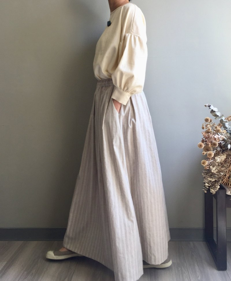 / Nothing is quiet / linen rice. Striped yarn-dyed landing dress 100% hemp