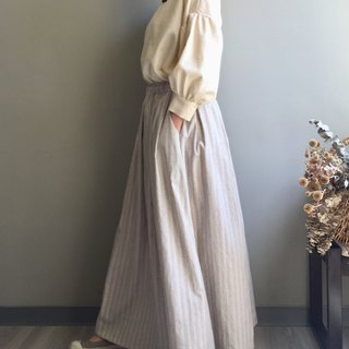 Exclusive order length 80cm straps*nothing quiet*linen beige woven striped floor dress 100% hemp