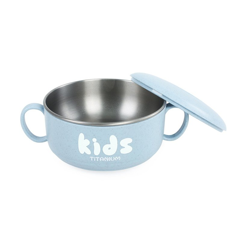 Ti-living Pure Titanium Children - Learning Double Layer Combination Bowl (Large) 350ml-Blue