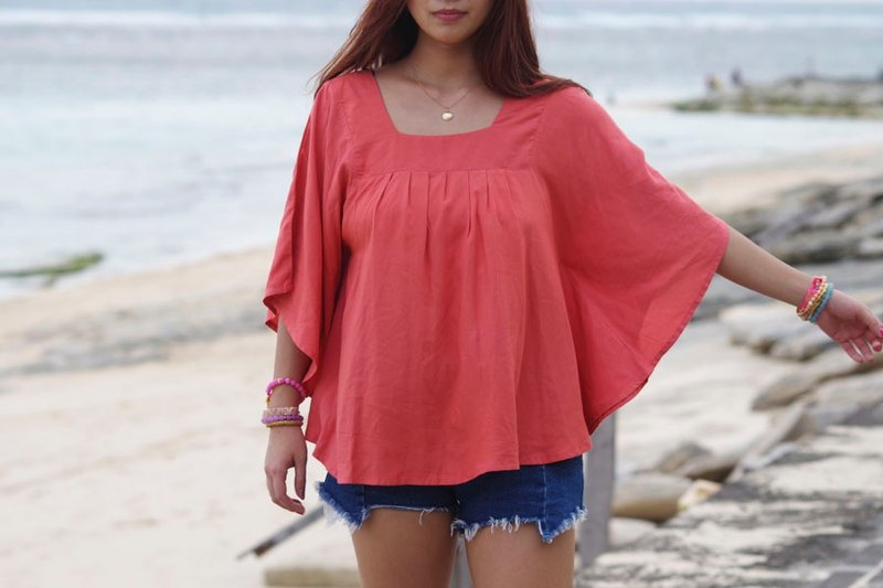 Square Neck Tops <Coral>