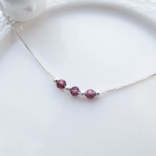 Big staff Taipa [handmade silver] purple garnet × clavicle chain sterling silver necklace handmade natural stone